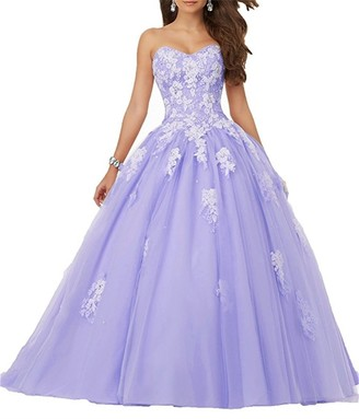 ANJURUISI Women's Sweetheart Lace Applique Floor Length Tulle Ball Gown Quinceanera Dresses Lilac-UK14