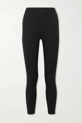 SKIMS Cotton Collection Thermal Ribbed Stretch-cotton Leggings - Black
