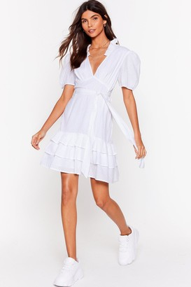 Nasty Gal Womens Tier for You Ruffle Belted Mini Dress - Black - XS, Black