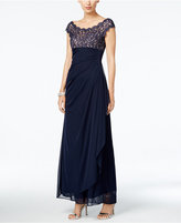 Xscape Evenings Petite Lace Illusion Faux-Wrap Gown