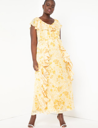 ELOQUII Ruffle Dress with Shine