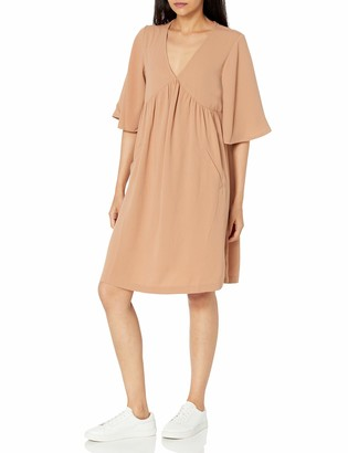 The Drop Women's Evie Loose-Fit Flutter Sleeve V-Neck Matte Satin Flowy Knee-Length Dress