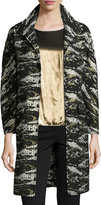 Neiman Marcus Jacquard Metallic Long Topper Coat