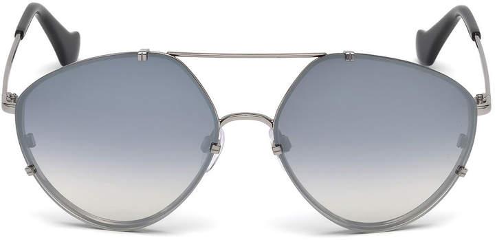 Balenciaga Metal Geometric Aviator Sunglasses, Black