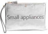 Anya Hindmarch Small Appliances Metallic Textured-leather Pouch - Silver