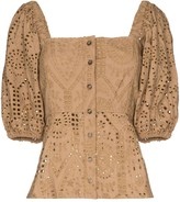Ganni broderie anglaise square-neck top
