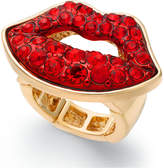 Thalia Sodi Gold-Tone Red Crystal Lips Stretch Ring, Created for Macy's