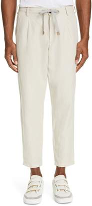 Eleventy Pleated Cotton & Linen Jogger Pants