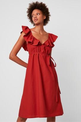 French Connection Azana Ruffle V-Neck Midi Dress