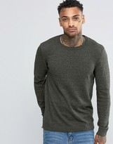 Asos Crew Neck Sweater in Khaki Cotton