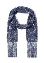 Quiz Navy Sequin Fringe Scarf
