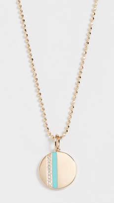Ef Collection 14k Mini Diamond Disc & Enamel Stripe Necklace