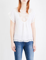 Masscob Lace-embroidered linen-blend top