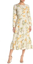 Spirit Of Grace Floral Print Long Sleeve Flounce Midi Dress