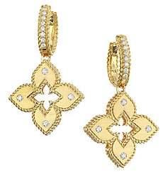 Roberto Coin Women's Venetian Princess 18K Gold & Diamond Huggie Drop Earrings