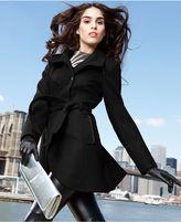 GUESS Coat, Funnel-Neck Wool-Blend Belted