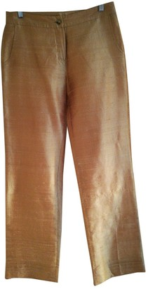 Non Signé / Unsigned Non Signe / Unsigned Gold Silk Trousers for Women