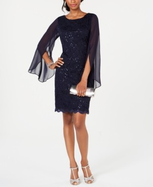 Connected Lace Split-Sleeve Sheath Dress