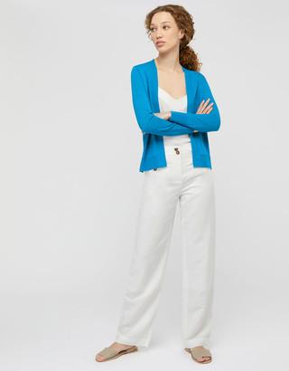 Monsoon Esmie Lightweight Knit Cardigan in Linen Blend Blue