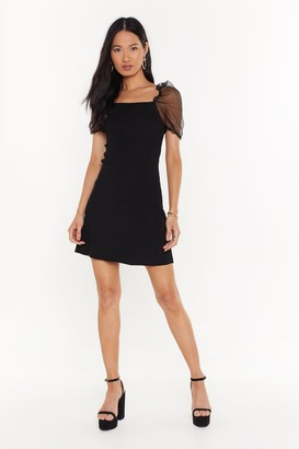 Nasty Gal Womens Sheer Me Out Square Neck Mini Dress - black - L