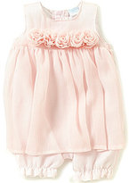 Edgehill Collection Baby Girls Newborn-6 Months Crinkle Chiffon Rosette-Detailed Romper