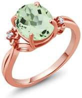 Gem Stone King 2.66 Ct Oval Green Amethyst Topaz Rose Gold Plated Sterling Silver Ring