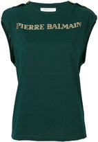 Pierre Balmain gold-tone logo top - women - Cotton - 42