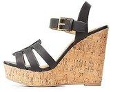 Charlotte Russe Huarache Cork Wedge Sandals
