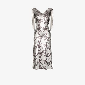 Paco Rabanne Floral Print Chain Mail Midi Dress