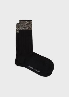 Giorgio Armani Knitted Socks With Chevron Edges