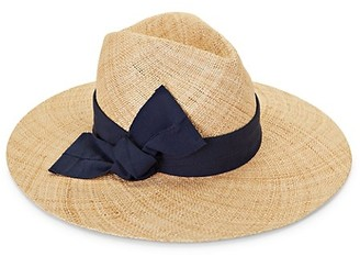 Raffaello Bettini Ribbon-Trimmed Wide-Brim Straw Hat