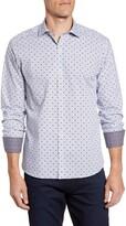 Bugatchi Shaped Fit Diamond Print Button-Up Sport Shirt