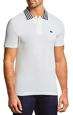 Lacoste Cotton Stretch Stripe Collar Slim Fit Polo Shirt