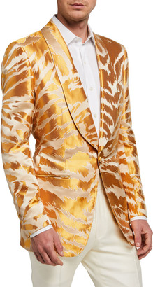 Tom Ford Men's Textured Zebra Jacquard Dinner Jacket