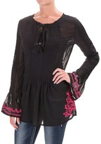 Rock & Roll Cowgirl Embroidered Pleated Tunic Shirt - Long Sleeve (For Women)