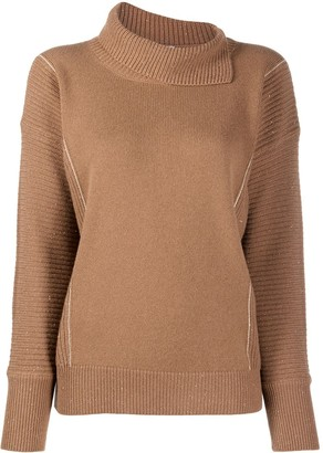 Peserico Asymmetric High Neck Knitted Jumper