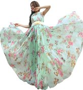 MedeShe Women's Chiffon Floral Holiday Beach Bridesmaid Maxi Dress Sundress (US size 6 -14; Length-135cm, )