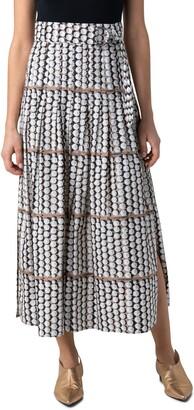 Akris Punto Parasol Print Cotton Poplin Midi Skirt