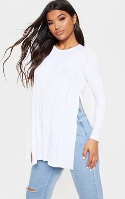 PrettyLittleThing Tamsyn White Long Sleeve Side Split Top