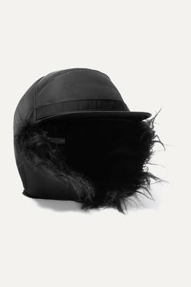 Prada Mohair Blend-trimmed Nylon Cap - Black