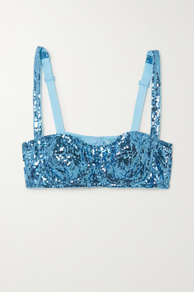 Dolce & Gabbana Sequined Tulle Underwired Balconette Bra - Blue