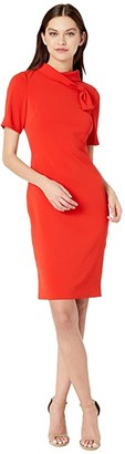 Badgley Mischka Band Neck Mock Front (Coral) Women's Dress