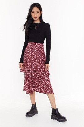 Nasty Gal Womens Tier We Grow Floral Midi Skirt - Red - 6, Red