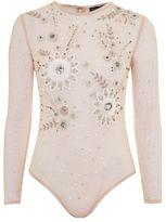 Topshop Long sleeve pearl embellished body