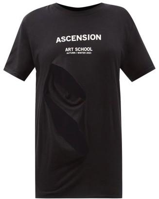 Art School Logo-print Slashed Cotton-jersey T-shirt - Black White