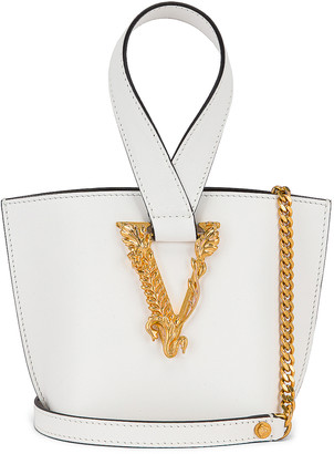 Versace Tribute Leather Bag in White & Gold | FWRD