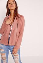 Missguided Suedette Bonded Biker Jacket Pink