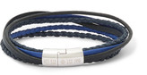 Tateossian Cobra Woven Leather Silver-tone Bracelet - Blue
