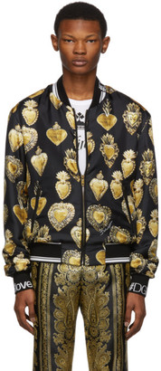 Dolce & Gabbana Black Silk Sacred Heart Bomber Jacket