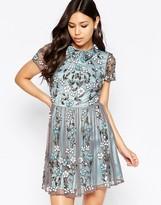 Maya Heavily Embellished Floral Collared Skater Dress